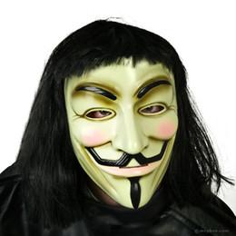 Wholesale Wig Black Cosplay Men - v for vendetta halloween costume for men black warrior costumes carnival cosplay masquerade clothes(hat + cloak + mask + wig)