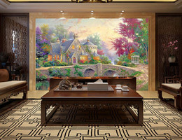 Wholesale Fairy Tale House - mural wall paper Flowers castle fairy tale beautiful scenery wallpapers