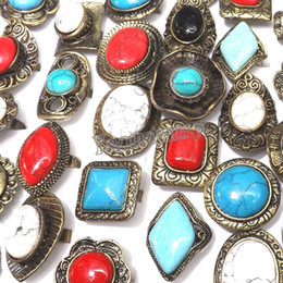 Wholesale Alloy Antique Rings Adjustable - Adjustable Antique Bronze Turquoise Rings Mixed Color Tibetan Style Rings 50pcs Lot Wholesale