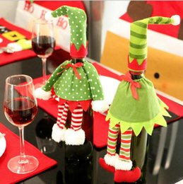Wholesale Wholesale Wine Christmas Ornaments - 5set lot 2016 Europe and United States sales of new Christmas red wine christmas decorations non-woven bag + skirt restaurant accessories