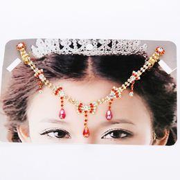 Wholesale Head Piece Chain Jewelry Gold - Girls Women's Hair Head Piece Wedding Bridal Hair Jewelry Crystal Rhinestone Indian Tikka Head Chain Belly Dance Jewelry