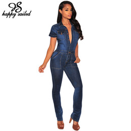 Wholesale Denim Long Sleeve Jumpsuit - Wholesale- Happy Sailed Women Summer 2017 Fashion Jeans Overalls Dark Denim Button Down short sleeve Jumpsuit long pants bodysuits 64110