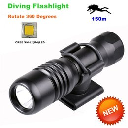Wholesale Diver Diving Flashlight - Diving diver LED Flashlight underwater torch CREE XM-L2 U4 waterproof light lamp 360 Degree Rotation Diving Flashlights-DIV18