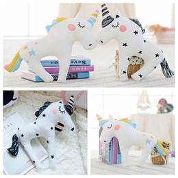Wholesale Baby Sleeping Cushions - Cute 3D Unicorn Shape Cushion Throw Pillow 38*30cm Cartoon Sofa Unicorn Horse Plush Toys Baby Sleep Pillow 100pcs OOA3432