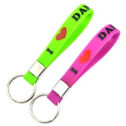 Wholesale Silicone Wristband Printed Logo - Hot Sell 1PC Printed Logo I Love Dance Silicone Wristband Keychain, Perfect to Use in Any Benefits Gift for Dancer