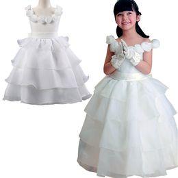 Wholesale Tutu Big Girls Dresses - PrettyBaby 2016 summer kids girls tutu dresses white princess party dress big bow belt 3D flower design sleeveless dress 20pcs Lot