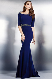 Wholesale Sexy Blue Shirts - On-Sale! Evening Dress With Merimaid Trumpet Jersey Scoop Neck Sweep Train Beaded Sash 1 2 Sleeves Elegant Evening Dresses #DL60234