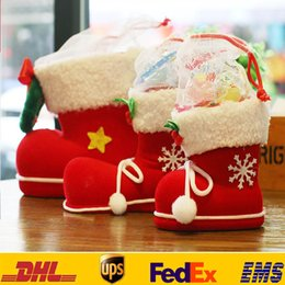 Wholesale Event Decorations - Xmas Candy Boots Bag Christmas Tree Decoration Ornaments Red Kids Children Adult Event Party Gifts Wrap HH-T20