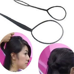 Wholesale Topsy Ponytail - Ponytail Creator Plastic Loop Styling Tools Black Topsy Pony topsy Tail Clip Hair Braid Maker Styling Tool Fashion Salon 2017091001