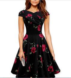 Wholesale Swing Caps - 50s 60s Dress 2016 Vintage Women Floral Printed Big Swing Audrey Hepburn Dress Sweet Ball Gown Retro Plus Size Midi 50s Dress