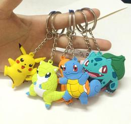 Wholesale Turtle Light Kids - Free DHL Key Ring Poke Figures Keychains Toys 6 Styles Kids Pikachu Charmander Bulbasaur Jeni Turtle Keychains Backpack Accessories 5E