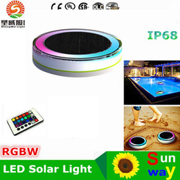 Wholesale Portable Remote Control - New LED solar swimming pool Lights 24LEDs RGBW IP68 waterproof landscape solar outdoor lights for garden swimming pool + Remote control