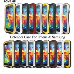 Wholesale Love Mei Case S4 - Waterproof LOVE MEI Defender Cover For iPhone 6 Plus i7 5 5S 5C Galaxy S3 S4 Note 4 Powerful Shockproof Metal Armor Case Heavy Duty Skin