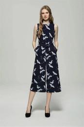 Wholesale Bird Belt - AILORA 2017 spring summer new women's bird print O-neck sleeveless belt sashes ankle-length jumpsuits blue