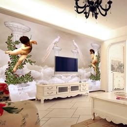 Wholesale Paradise Papers - Paradise Little Angel Photo Wallpaper Custom 3D Wallpaper Europe Wall Murals Bedroom Hotel TV Backdrop wallpaper Room Decor 3D wall paper