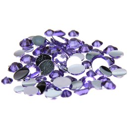 Wholesale Gluing Fabric - Light Purple Glue On Resin Rhinestones 1000-10000pcs 2-6mm Round Flatback Non Hotfix Chaton DIY Craft Fabric Garment Decorations