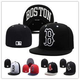 Wholesale B Letters - Cheap Red Sox Fitted Caps B Letter Baseball Cap Embroidered Team B Letter Size Flat Brim Hat Red Sox Baseball Cap Size