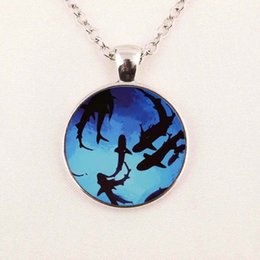 Wholesale Shark Chain - Wholesale Glass Cabochon Necklace Pendant shark necklace Circling Sharks Pendant Necklace Glass Dome Pendant