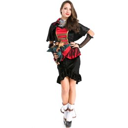 Wholesale Zombie Bride Costumes - New Halloween Ghost Bride Costume High Quality Black Red Patchwork Gothic Zombie Vampire Witch Cosplay Costume for Women A158732