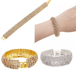 Wholesale Rhinestone Slave Bracelet Jewelry - Fashion Bling Bling Bridal Bracelets Rhinestone Bracelet Charm Bracelet Jewelry Wristband Slave Bracelet Evening Party Waer E838L