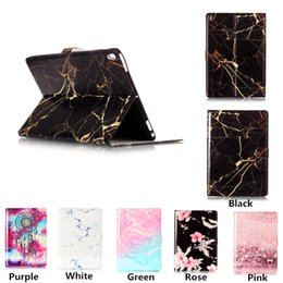 """Wholesale Tablet Case Painting - For 2017 New iPad 9.7"""" Marble Flowers Pattern Painted PU Leather Folio Stand Flip Card Slots Cover Case for Tablet PC"""