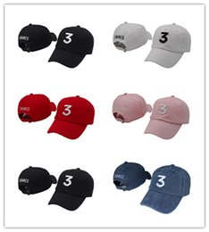 Wholesale Rappers Caps - Cheap Embroidered chance the rapper 3 Hat Black Baseball Cap Fashion kanye west bear dad caps casquette hip hop Strapback sun hats