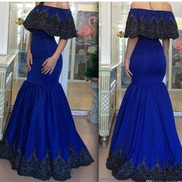 Wholesale cap shoulders fitted prom dresses - Royal Blue Mermaid Lace Evening Dresses 2017 Off Shoulder Appliqued Floor Length Slim Fitted Bodice Formal Prom Gowns