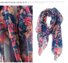 Wholesale Hot Head Scarf - Hot Sale 2016 Women Foral Scarf Gorgeous Peony Flowers Scarves Voile Pretty Shawl Fashion Flowers Shawls Muslim Head Hijab Wrap