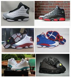 Wholesale Army Navy Game - 2017 Top quality air retro 13 XIII mans women Basketball Shoes Boots Bred Navy Game hologram grey toe Flint Grey Athletics Sport Sneaker