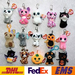 Wholesale Beanie Animals Cartoon - Big Eyes Animals Plush Doll Key Rings TY Cartoon Beanie Boos Car Bags Cell Phone Pendant Keychain Of Children XMAS Toys Gifts WX-K44