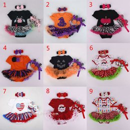 Wholesale Happy Birthday Flags - Baby Christmas Xmas Halloween pumpkin rompers 3pcs set suits happy birthday Newborn national flag girl Lace rompers cake dress shoes B001