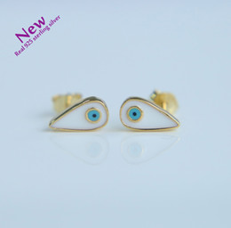 Wholesale Turkish Sterling Jewelry - Earings Hot Sale Brincos 2017 Cute 925 Sterling Turkish Evil Eye Stud Earrings Enamel Charm For Women Dainty Tiny Jewelry Gift