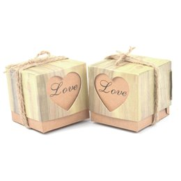 Wholesale Paper Bags Romantic Gift - 50pcs Romantic Heart paper chocolate Candy Box for Wedding Decoration Vintage Kraft Wedding Favors Gifts bag with Burlap Twine