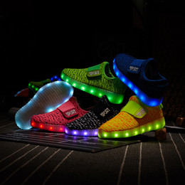 Wholesale Blue Illuminated - New USB Charging Unisex Led Children Lighting Shoes With Light Up for Girls Boys Kids Glowing illuminated sneaker Luminous Children Sneakers