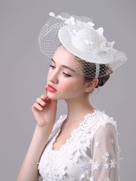 Wholesale Vintage Headdresses - Wedding Bridal Hats 2017 New Vintage Handmade Gauze Lace Flower Elegant Romantic Headdress Marrige Wedding Accessories