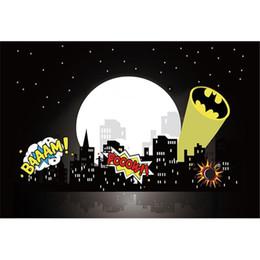 2019 città di sfondo City Night Full Moon Stars Supereroi Fotografia Fondali Baby Newborn Birthday Party Bambini Bambini Cartoon Background per Photo Studio sconti città di sfondo