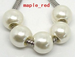 Wholesale Acrylic Loose Necklace Beads - 100PCS Lot white Fashion Imitation Pearl European Charms for Jewelry Making Loose Big Hole Beads Fit European Bracelet and Necklace