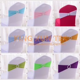 Wholesale Fits Banquet - Nice Looking Lycra Band Spandex Chair Sash With Round Buckle Fit For Banquet Wedding Chair Cover
