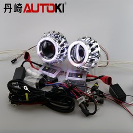 Wholesale Xenon Lenses - Autoki Double Angel Eyes HID Bixenon Projector Lens Kit LHD RHD with 35W HID Ballast Xenon Lamp 4300K-8000K Car Light