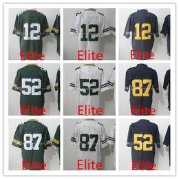 Wholesale Elite Stitch Football Jerseys - MEN'S Football Jerseys Aaron Rodgers #12 Jordy Nelson #87 Clay Matthews #52 Blue White Green Elite jersey Stitched Logos