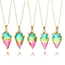 2019 druzy seta Moda Seta Triangular Pedra Natural Três Colorido Flecha De Cristal Druzy Colar de Corrente De Ouro Marca de Jóias de Presente de Natal para As Mulheres desconto druzy seta