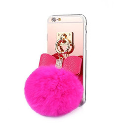 Wholesale Iphone Case Rabbit Mirror - TPU Soft mirror with Rabbit Fur Ball Ring Stand Phone Back cover Case for 5 6s 6s Plus 7 7plus 8 8plus x Samsung S6 edge S7 S7 edge S8 Note8