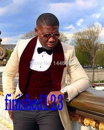 Wholesale Mens Blue Vest - Wholesale- Latest Design Shawl Lapel Mens Dinner Party Prom Suits Groom Tuxedos Groomsmen Wedding Suits For Men Jacket+Pants+Vest+Bow