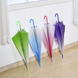 Wholesale Cute Folding Umbrellas - Gradient Color Sun Umbrells Long Handle Beach Cute Transparent Umbrells Solid Color Women Rain Folding Umbrellas OOA2386