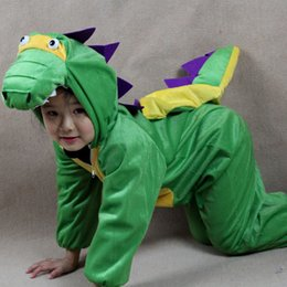 Wholesale Dinosaur Costume For Kids - Dinosaur Costumes For Kids Plush One piece Rompers Children Cartoon Animal Cosplay Role Play Stage Performance Halloween Christmas Party