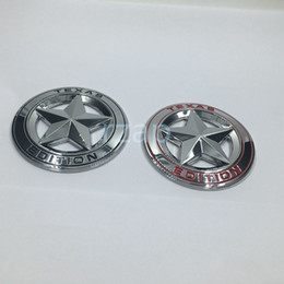 Wholesale Trd Badge Emblem - 2pcs set 3D Metal Texas Edition Chrome Emblem Badges For Toyota Tacoma Tundra Ford Chevy Dodge TRD