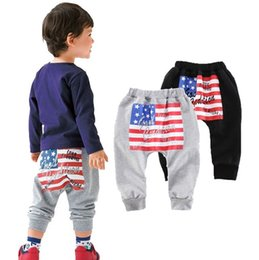 Wholesale Childrens Trousers - Wholesale Boys Girls Baby Childrens Harem Pants Clothing US National Flag Trouser Spring Autumn Gray Dark Blue Casual Pants Kids Clothes