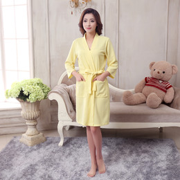 Wholesale womens cotton pajamas - Wholesale- Women Bath Robe Cotton Lovers Spa Pajamas Spa Bathrobe Bath Robe Homewear Male Long Sleeves Kimono Peignoir Womens Nightwear