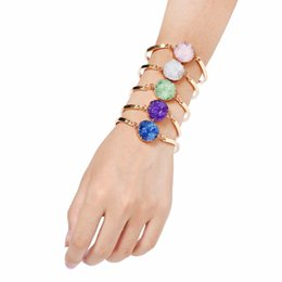 Wholesale Bangle Resin - 2018 Gem Stone Bracelets Gold Plated Bangles Fashion Resin Charm Jewelry Yoga Energy Bracelet Bangles Unisex Lava Bracelet