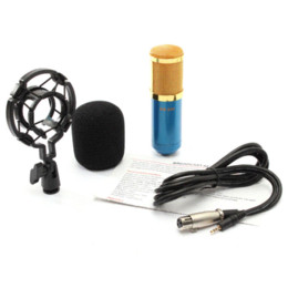 Suporte de braço on-line-BM800 Dinâmico Microfone Kit de Gravação de Som Estúdio Com Choque Mount Azul + Microfone Suspensão Boom Scissor Arm Stand Titular
